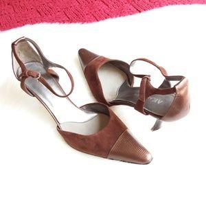 Anne Klein | Brown Leather Ankle Strap Heels